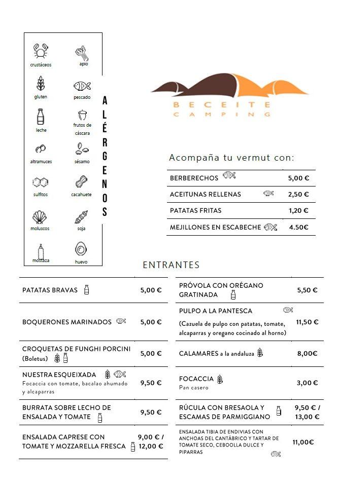 Carta restaurante - Beceite Camping